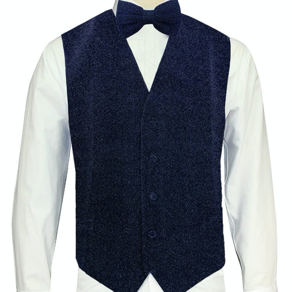 Navy Sparkle Vest and Bowtie