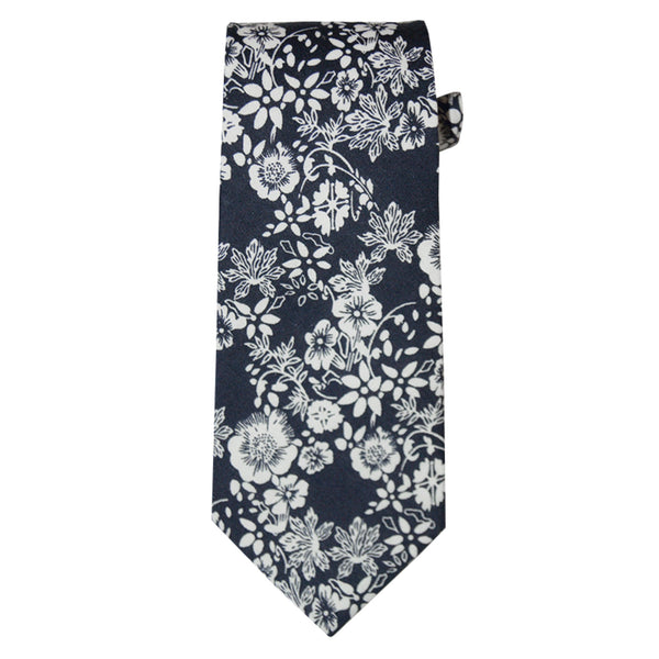 Navy and White Floral Ties