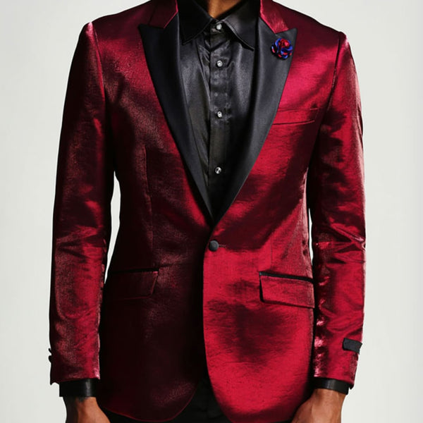 Burgundy Prom Tuxedo Jacket -  Shiny Slim With Black Lapel