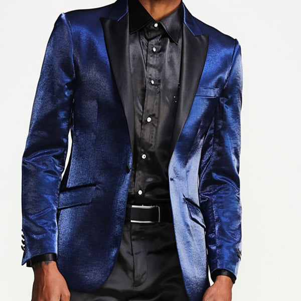Navy Prom Tuxedo Jacket -  Shiny Slim With Black Lapel