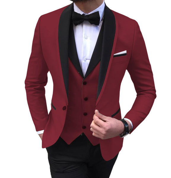 KCT Mens 3 Pieces Slim Fit Shawl Lapel Tuxedos