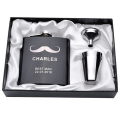 Personalized Engraved  6oz Hip Flask Set Stainless Steel Funnel Gift Box