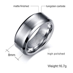 KCT Wedding Bands Classic Silver Carbide Ring Never Rust