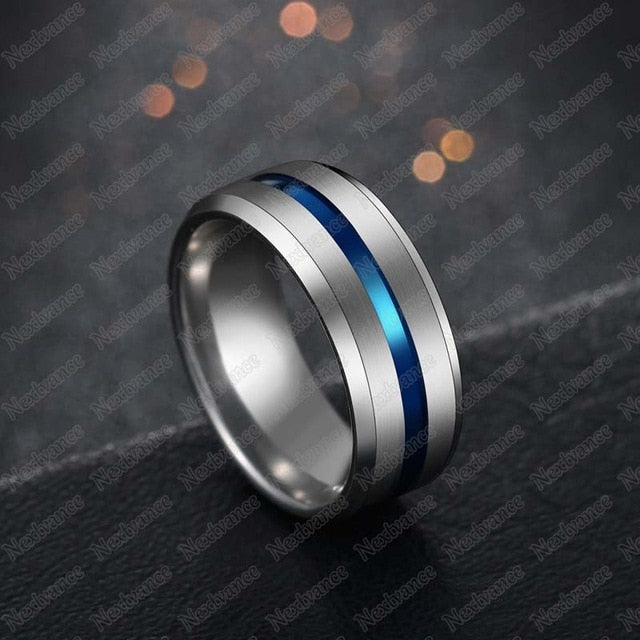 KCT Stainless Steel Black Blue Groove Ring For Men Wedding Bands