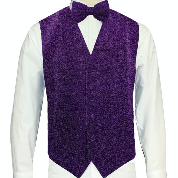 Purple Sparkle Vest and Bowtie