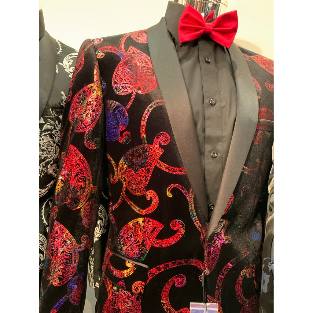 Red Ace - Stretch Suede Jacket + Matching Bowtie