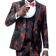 Red and Black Floral Tuxedo With Vest and Bowtie