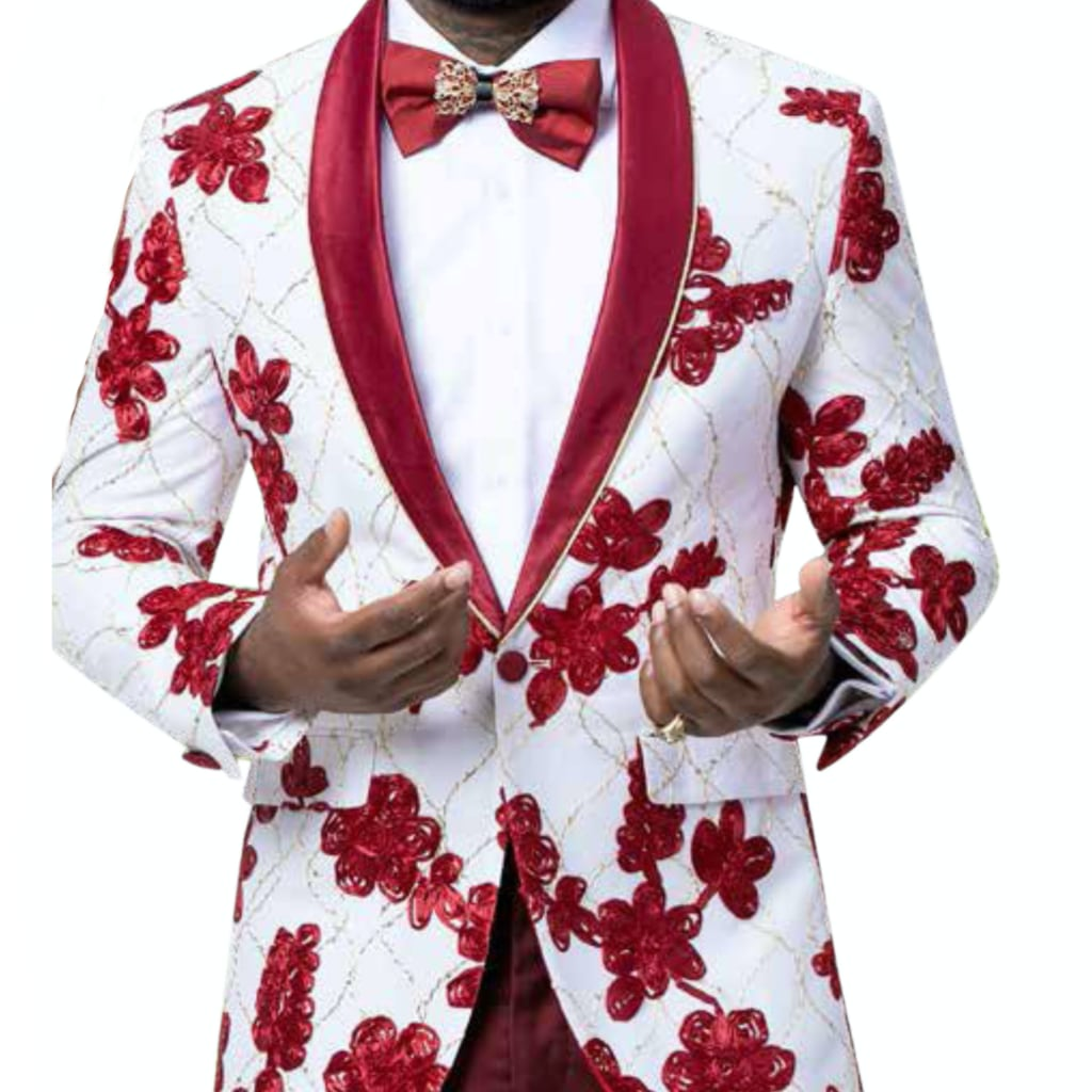 Red and White Blazer With Matching Bowtie