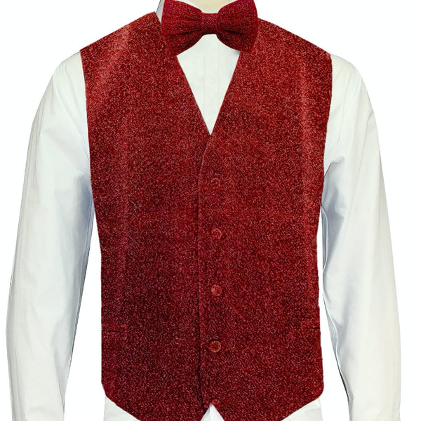 Red Sparkle Vest and Bowtie