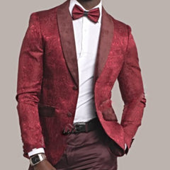 Dark Red Pattern Prom Blazer