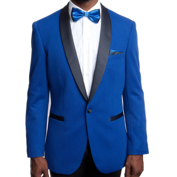 Royal Blue Prom Tuxedo with Black Lapel