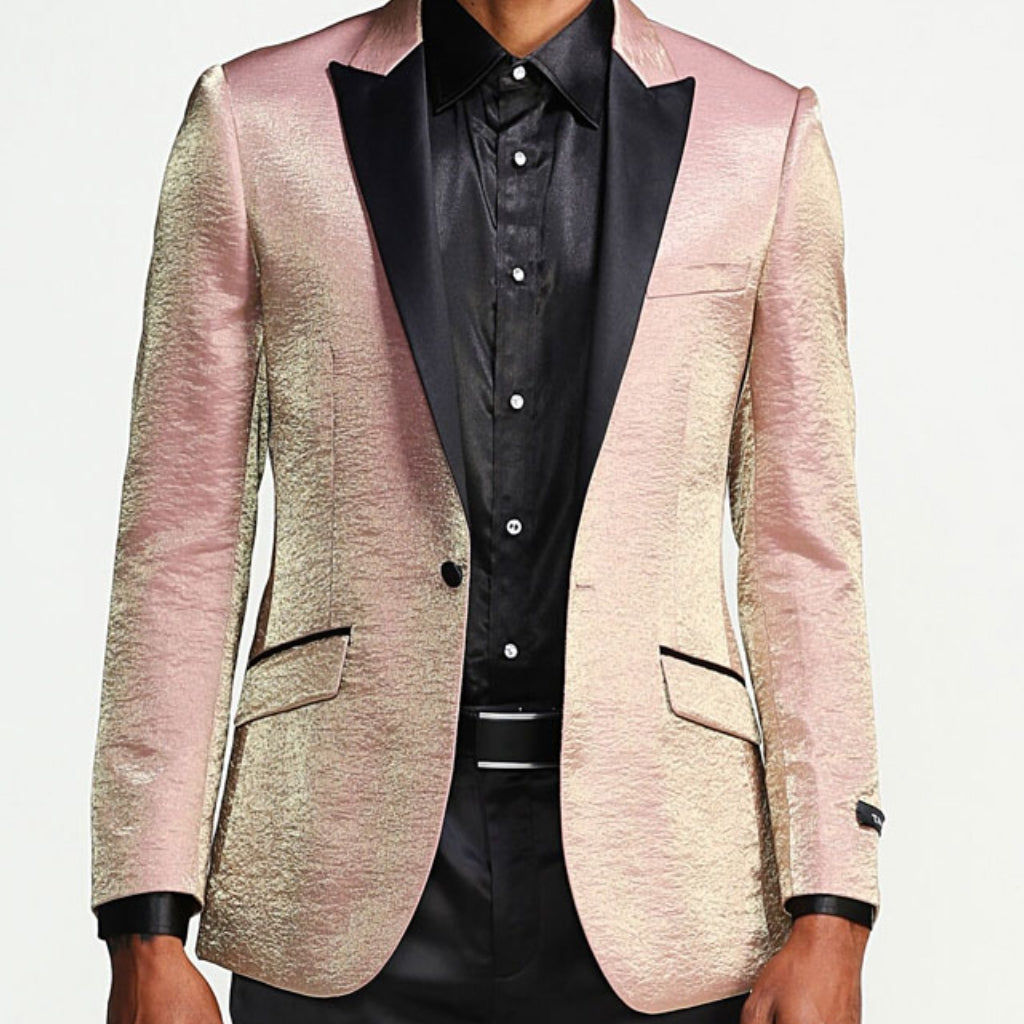 Rose Gold Prom Blazer With Black Lapel