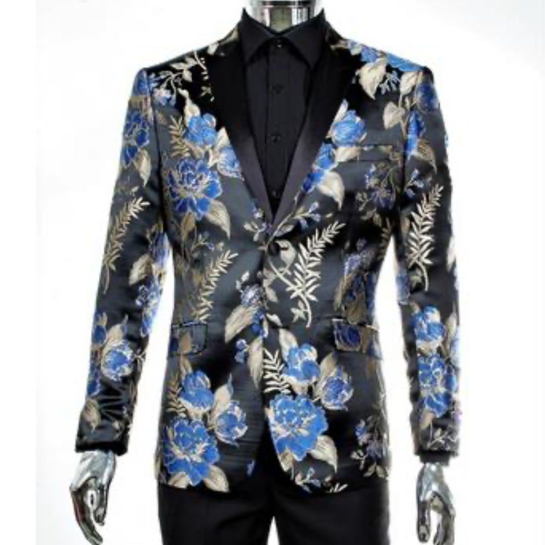 Royal and Silver Floral Blazer with Matching Bowtie