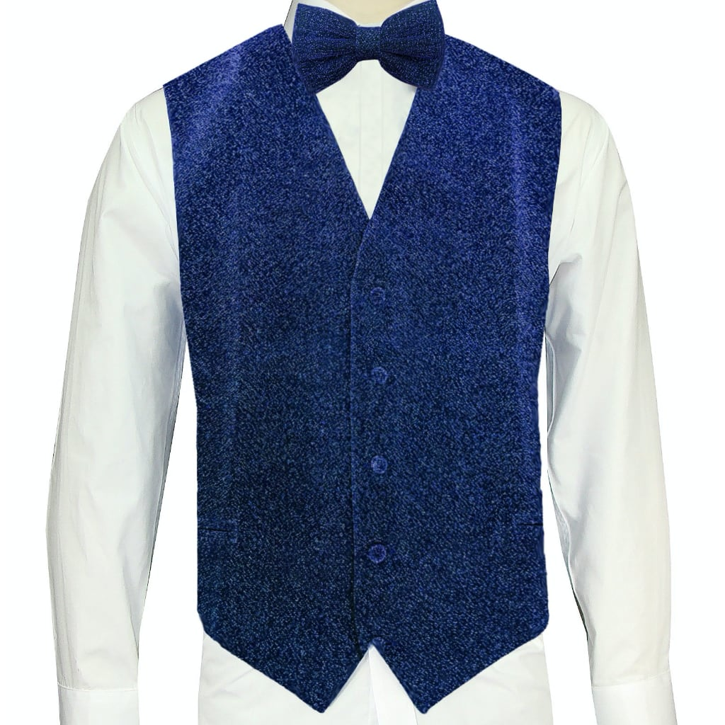 Royal Blue Sparkle Vest and Bowtie