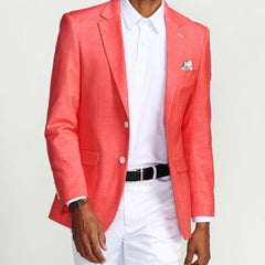 Salmon Casual Blazer Two Button Notch Lapel