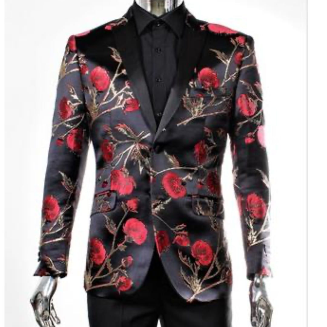 Red Rose and Gold Jacket + Matching Bowtie