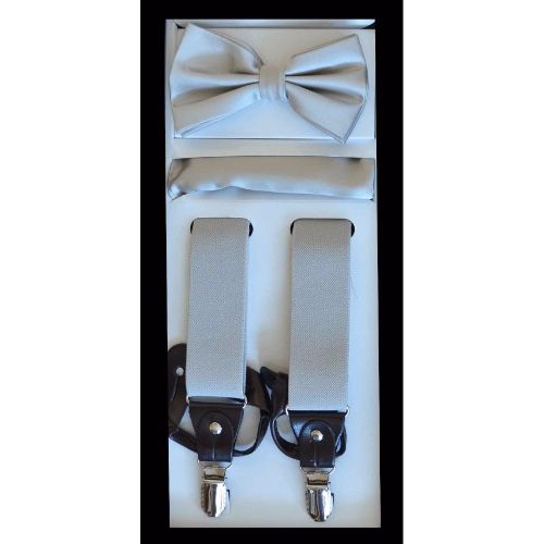 Silver Suspender Bow-tie Set