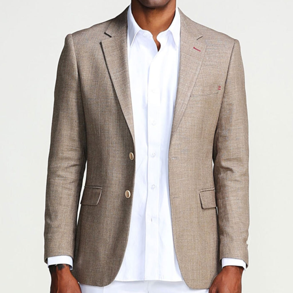 Tan Casual Blazer Two Button Notch Lapel