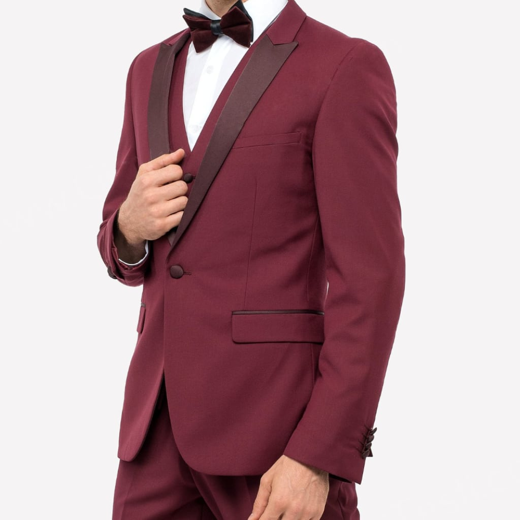 Burgundy Wine Three Piece Tuxedo