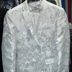 White Sparkling Floral Suit with Matching Bowtie