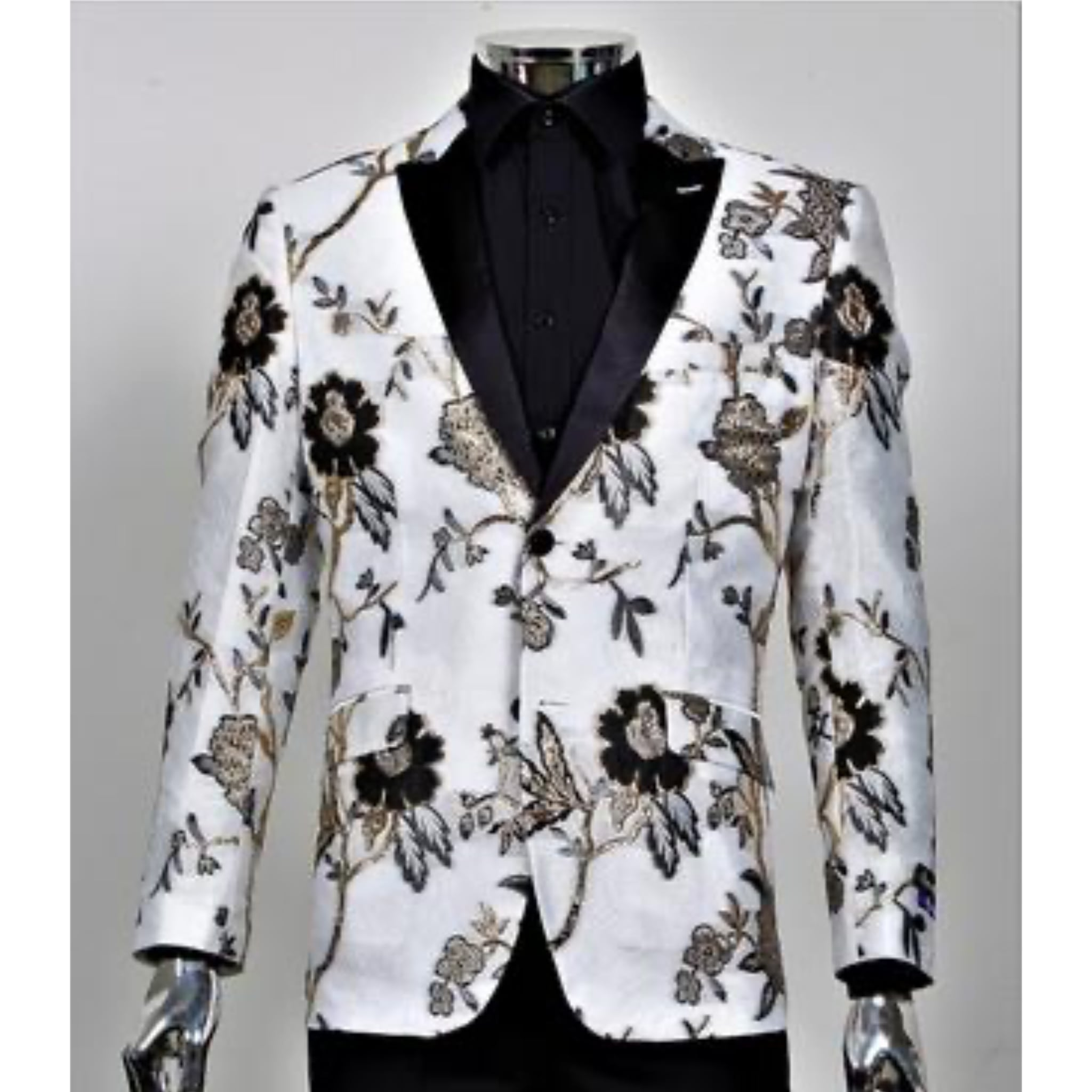 White and Gold Rose Jacket + Matching Bowtie