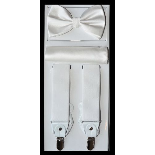 White Suspender Bow-tie Set
