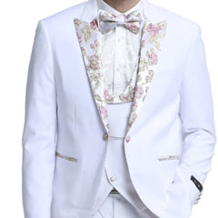 White Tuxedo Paisley Lapel With Matching Mask