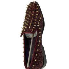 Burgundy Gold Spiked Prom Shoes