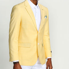 Yellow-Lemon Casual Blazer Two Button Notch Lapel