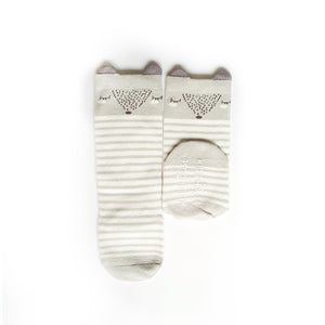 Animal Knee High Socks with Ears-Baby Socks-My Babblings-Baby Size-Slumber Fox (Grey Stripes)-My Babblings™