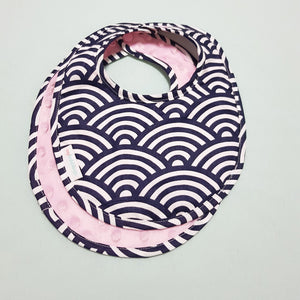 Oceanic Waves Reversible Curved Droolpads and Bib Set-Droolpads-My Babblings-Pink Minky-Oceanic Waves Bib only-My Babblings™