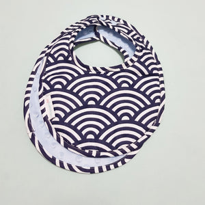 Oceanic Waves Reversible Curved Droolpads and Bib Set-Droolpads-My Babblings-Blue Minky-Oceanic Waves Bib only-My Babblings™