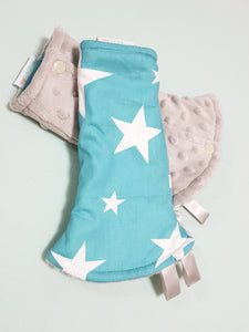 Shining Stars Reversible Curved Droolpads and Bib Set-Droolpads-My Babblings-Grey Minky-Shining Stars Droolpads only-My Babblings™