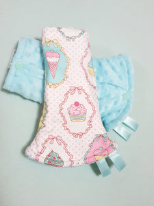Dreamy Cupcakes Reversible Curved Droolpads and Bib Set-Droolpads-My Babblings-Tiffany Blue Minky-Dreamy Cupcakes Droolpads only-My Babblings™