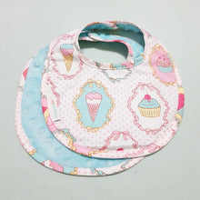 Dreamy Cupcakes Reversible Curved Droolpads and Bib Set-Droolpads-My Babblings-Tiffany Blue Minky-Dreamy Cupcakes Bib only-My Babblings™
