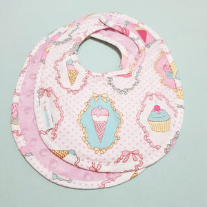 Dreamy Cupcakes Reversible Curved Droolpads and Bib Set-Droolpads-My Babblings-Pink Minky-Dreamy Cupcakes Bib only-My Babblings™