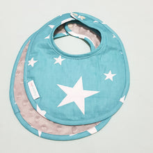 Shining Stars Reversible Curved Droolpads and Bib Set-Droolpads-My Babblings-Grey Minky-Shining Stars Bib only-My Babblings™