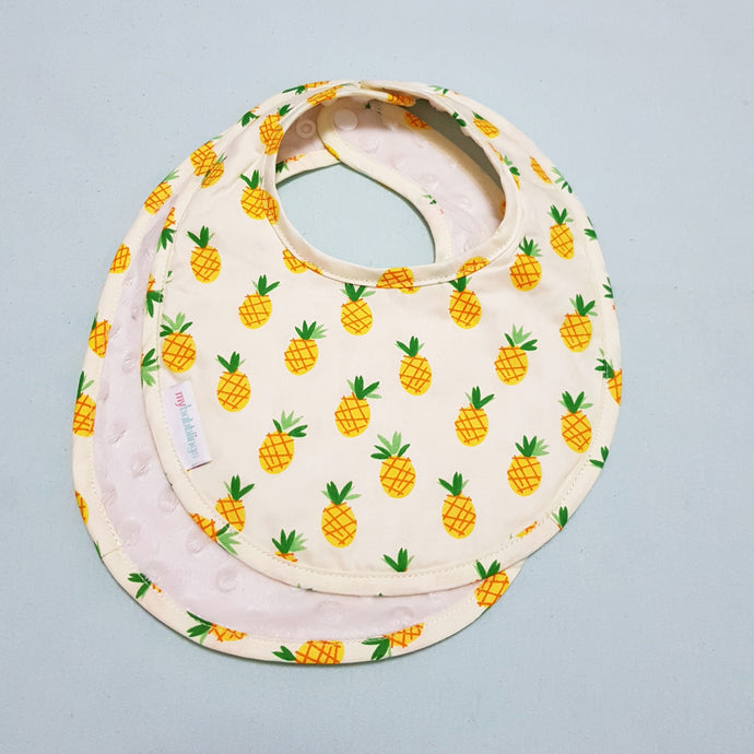 Lucky Pineapples Reversible Curved Droolpads and Bib Set - My Babblings™