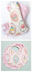 Dreamy Cupcakes Reversible Curved Droolpads and Bib Set-Droolpads-My Babblings-Pink Minky-Dreamy Cupcakes Droolpads and Bib Matching Set-My Babblings™