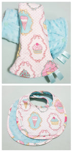Dreamy Cupcakes Reversible Curved Droolpads and Bib Set-Droolpads-My Babblings-Tiffany Blue Minky-Dreamy Cupcakes Droolpads and Bib Matching Set-My Babblings™