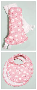 Pink Mochi Rabbit Reversible Curved Droolpads and Bib Set-Droolpads-My Babblings-Pink Mochi Rabbit Droolpads and Bib Matching Set-My Babblings™