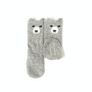 Animal Knee High Socks with Ears-Baby Socks-My Babblings-Baby Size-Grey Grizzly-My Babblings™