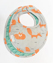 Fire Fox Reversible Curved Droolpads and Bib Set-Droolpads-My Babblings-Fire Fox Bib in Mint Minky only-My Babblings™