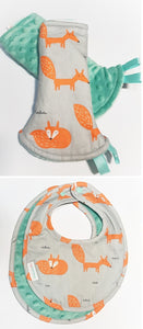 Fire Fox Reversible Curved Droolpads and Bib Set-Droolpads-My Babblings-Fire Fox in Mint Minky Droolpads and Bib Matching Set-My Babblings™