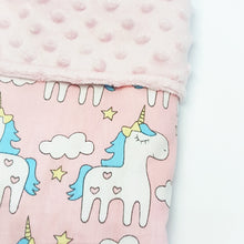 Reversible Minky Blanket (5 designs)-Baby Blanket-My Babblings™-S (70x100cm)-Magical Unicorn with light pink Minky-My Babblings™