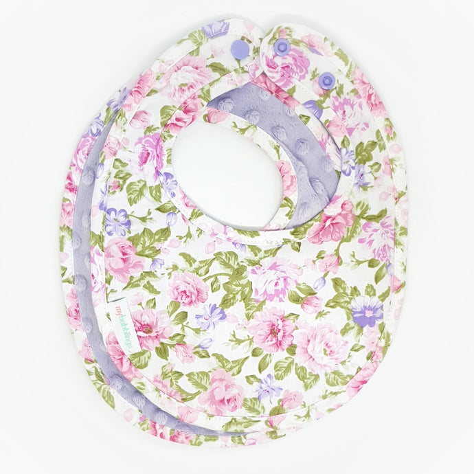 Floral Bouquet Reversible Curved Droolpads and Bib Set-Bibs-My Babblings™-Floral Bouquet Bib only-My Babblings™