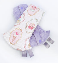 Dreamy Cupcakes Reversible Curved Droolpads and Bib Set-Droolpads-My Babblings-Lavender Minky-Dreamy Cupcakes Droolpads only-My Babblings™