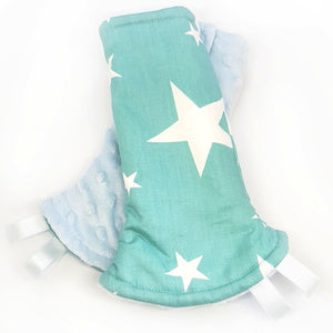 Shining Stars Reversible Curved Droolpads and Bib Set-Droolpads-My Babblings-Light Blue Minky-Shining Stars Droolpads only-My Babblings™