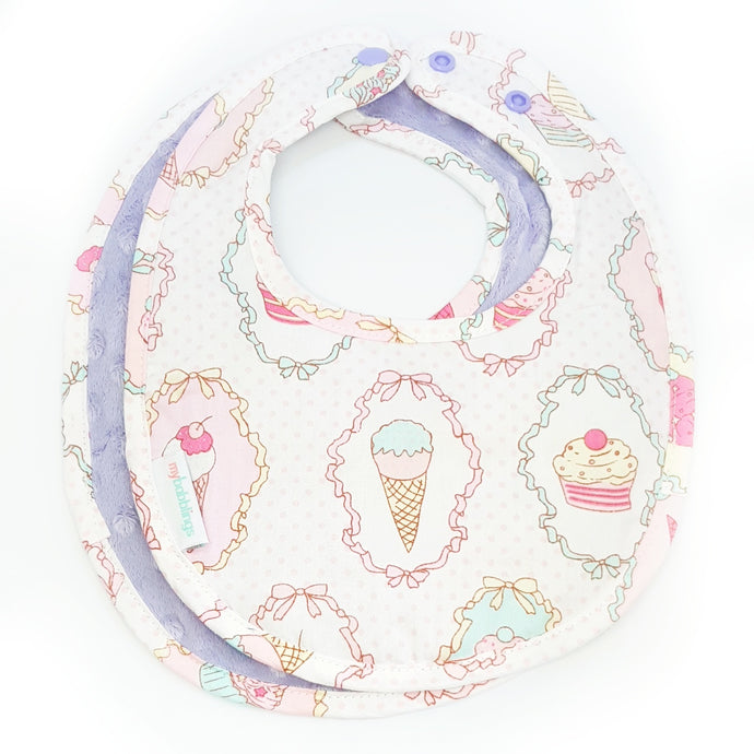 Dreamy Cupcakes Reversible Curved Droolpads and Bib Set-Droolpads-My Babblings-Lavender Minky-Dreamy Cupcakes Bib only-My Babblings™