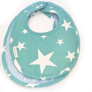 Shining Stars Reversible Curved Droolpads and Bib Set-Droolpads-My Babblings-Light Blue Minky-Shining Stars Bib only-My Babblings™